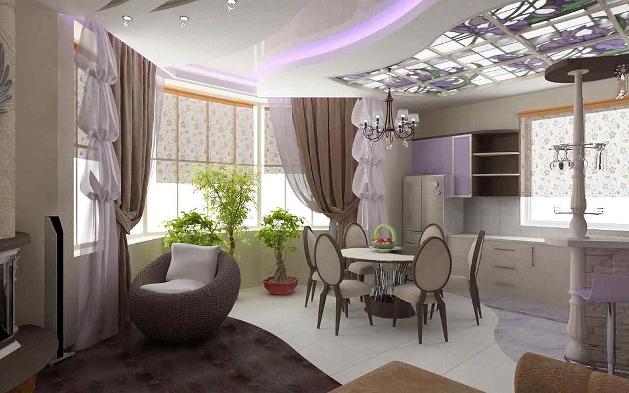 Дизайн интерьера гостиной кухни: в современном и классическо.